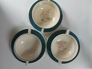 SUSIE COOPER Burslem two handled soup bowl and saucer ( 3 cups & 3 saucers) RARE