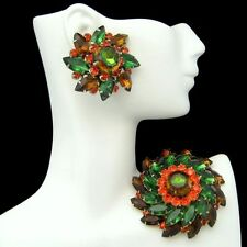 JUDY LEE Vintage Rhinestones Brooch Pin Earrings Green Orange Brown Gold Plated