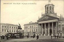 Brüssel Bruxelles ~1910 Saint Jacques sur Coudenberg Place Royal Straßenbahn