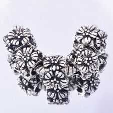 5PCS Silver Filled Flower Charms lot Beads Fit European charm Bracelet