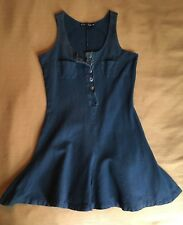 Early 90s Vintage Betsey Johnson Blue Over Dyed Cotton Pique Mini Dress M
