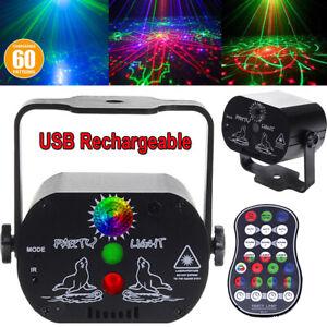 60 Muster RGB Laser LED Bühnenlicht Mit eingebautem Akku Party Lampe Projektor
