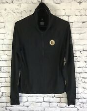 ADIDAS CLIMALITE  BOSTON BRUINS Vertical Heather 1/4 Zip Pullover Womens Small
