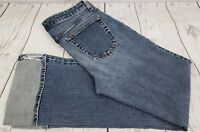 Gap Jeans Flare Stretch Women Sz 8 Long Blue Denim Cuffed Bottom