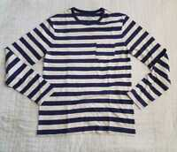NEW MEN'S S M L J CREW SLUB JERSEY LONG SLEEVE T-SHIRT IN  BLUE STRIPE