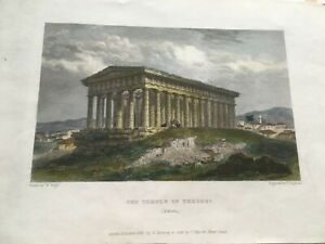 1837 Temple Of Theseus Athens - Coloured Antique Engraving