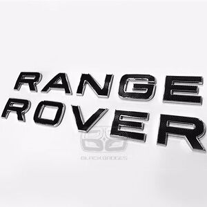 BLACK CHROME TEXTURED TAILGATE REAR BACK BADGE FIT RANGE ROVER SPORT VOGUE