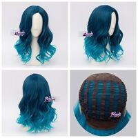 Lolita Heat Resistant Mixed Blau Ombre Curly Ladies Harajuku Cosplay Wig + Cap