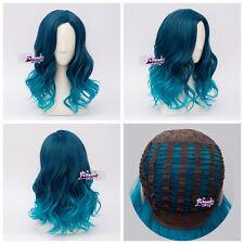 Lolita Heat Resistant Mixed Blue Ombre Curly Ladies Harajuku Wig + Cap Cosplay