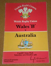 1981 WALES 'B' v AUSTRALIA programme