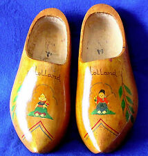 VINTAGE DUTCH WOODEN SHOES FROM HOLLAND WITH DUTCH BOY AND GIRL