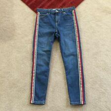 Topshop Moto Jamie Womens W30 Denim Jeans Striped Sides Actual W 28.5 x I 25