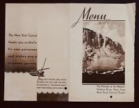 New York Central Railroad 1941 Dinner Menu -  Hudson River Palisades Cover