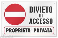 """Cartello vinile 4 fori """"Divieto di Accesso - Proprietà Privata"""""""
