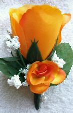 Rose Boutonniere*Corsage*Orange*Groom*Best man*Prom*Party*Quinceanera