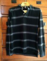 Men's No Boundaries Polo Rugby Shirt Black Gray Long Sleeved Size Medium