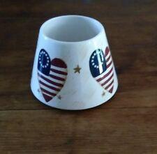 HOME INTERIORS Patriotic Americana USA Flag Heart Jar Candle Shade Topper Gift