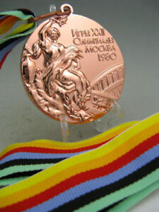 1980 Moscow Olympic Bronze Medals with Ribbons & Stand 1:1 **Free Shipping**