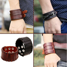 Mens Genuine Leather Punk Wrap Wristband Cuff Unisex Bangle Bracelet Rivet Strap