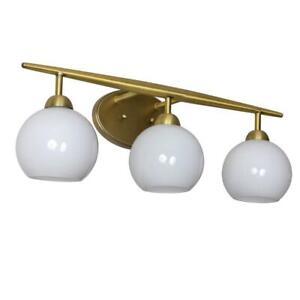 Decor Therapy Michael 6.75 in. 3-Light Antique Brass w/Milk Glass Vanity Light