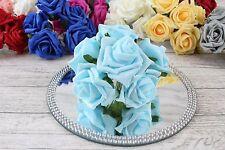 1 Bunch Colourfast Foam Rose Bouquet Wedding Artificial 6 Flowers 35 Colours 5cm LT Blue