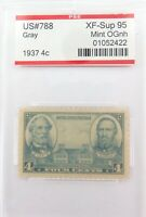.US STAMP #788 1937 4c GREY PSE GRADED XF-SUP 95 MINT OGnh.