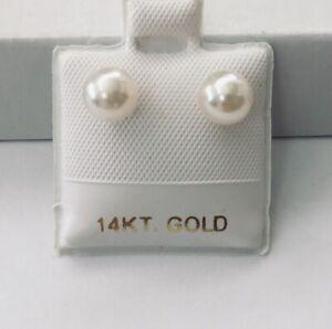 14K Genuine Akoya Cultured Pearl Round 5.5 - 6 mm Premium Quality Earrings NEW