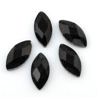 20 Glas Cabochons 12mm Blatt facettiert Kristall Schwarz Glasschliff BEST R208