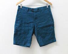 "BANANA REPUBLIC Men's Aiden 9"" Dark Teal Slim Linen Cotton Shorts 29 NEW"
