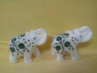 Italian Marble Elephant Pietra Dura Floral Art Semi Precious Inlay Arts Gifts