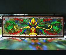 """*43"""" Wide Vintage French Stained Glass Panel with Flowers"""