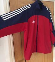 Retro Adidas Tracksuit Jacket Large Early 2000's Red Blue 3 Stripe UK Men 44 46