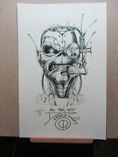 """DEREK RIGGS Autographed 11""""x17"""" Cyborg Eddie Print. Iron Maiden/Eddie"""