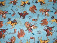 BTY COWBOY TOSS on Blue Print 100% Cotton Quilt Craft Fabric by the YARD