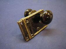Antique Victorian Cast Iron Door Rim Lock w/ Privacy Latch Black Porcelain knobs