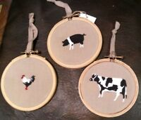 New Farmhouse Style COW, ROOSTER, PIG Embroidery Linen Hoop