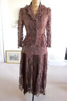 Sagaie Paris Skirt Shirt Lace Brown Laceup Corset Ruffle Gothic Victorian 10 12