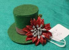 Dark Green Felt Christmas Top Hat w Red Poinsettia Ken Barbie Doll Knh456