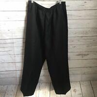 Alfred Dunner Womens Black Pull On Pants Size 18 Classics Stretch Waist Poly NWT
