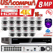 Hikvision 16 Channel 4K 8MP PoE NVR (16)x2MP IP Dome Camera CCTV Security System