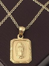 14k Yellow Gold Religious Virgin Mary Small  Pendant Gucci chain 20 INcH His Her