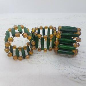 VINTAGE African? Beaded Napkin Rings Set of 3 Folk Art Tourist Souvenir Green