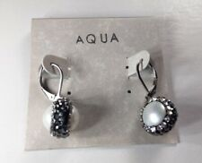 Aqua Glittery White Ball Crystal Drop/Dangle Earrings - New
