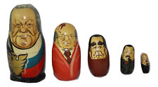 Matryoshka Nesting Dolls Authentic Russian Presidents Set of 5 From the 1980's