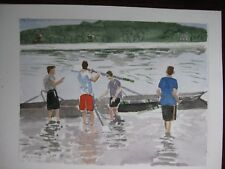 "Crew at Lenox, MA / original watercolor /9"" x 12"" / Mimi Davis, Artist"