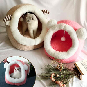 Cute Cat Cave Bed for Indoor Cats Small Cat Fleece Igloo Puppy Dog Sleep Kennel