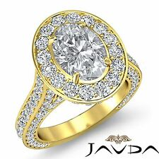 Halo Pre-Set Oval Diamond Unique Engagement Ring GIA F VS1 18k Yellow Gold 3.6ct