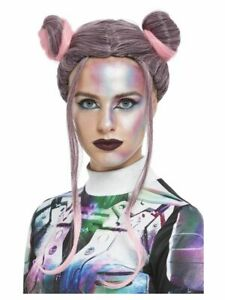 Space Buns Wig Ladies Space Sci Fi Fantasy Character Star Wars Fancy Dress Wig
