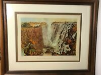 Vintage Framed Africa Print - The Victoria Falls 1865 Thomas Baines