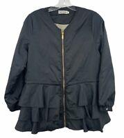 Zhuorankaili Women's Black Light-Weight Jacket Size Medium Tie at Waist Ruffle D